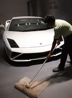 A Lamborghini Gallardo, similar to the one that was crashed, at a dealership in New Delhi.