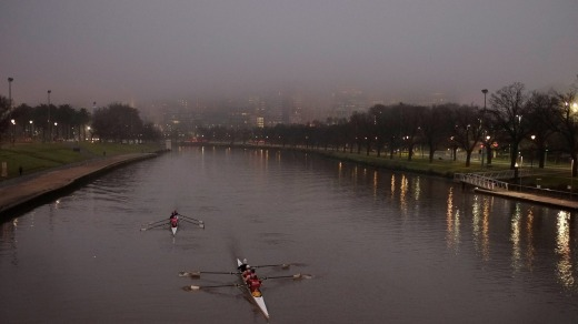 Fog descended on Melbourne on Tuesday morning.