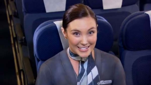 A still from Air New Zealand's inflight safety video ... featuring flight attendants in body paint.