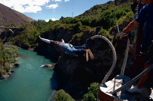 Bungy jumping in Queenstown, New Zealand.